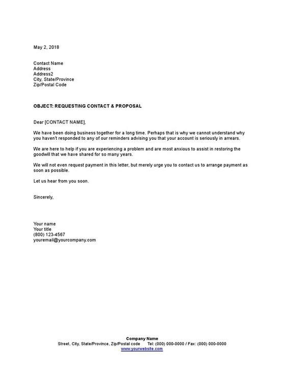 Sample Collection Letter Requesting Contact And Proposal Template