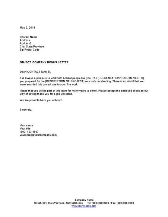 Sample Company Bonus Letter Template