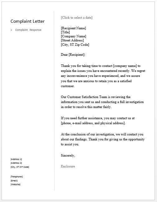 Response Letter To A Complaint