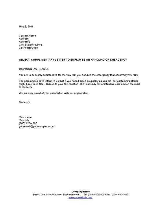 Sample Complimentary Letter To Employee On Handling Of Emergency