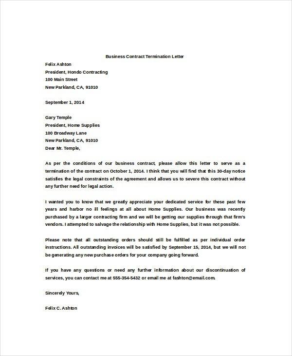 Service Termination Letter To Vendor