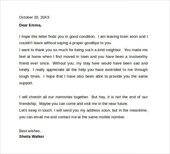 Sample Employee Farewell Letter