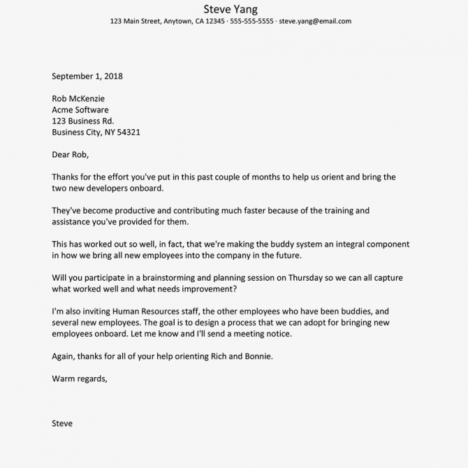 Sample Formal Employee Recognition Letters