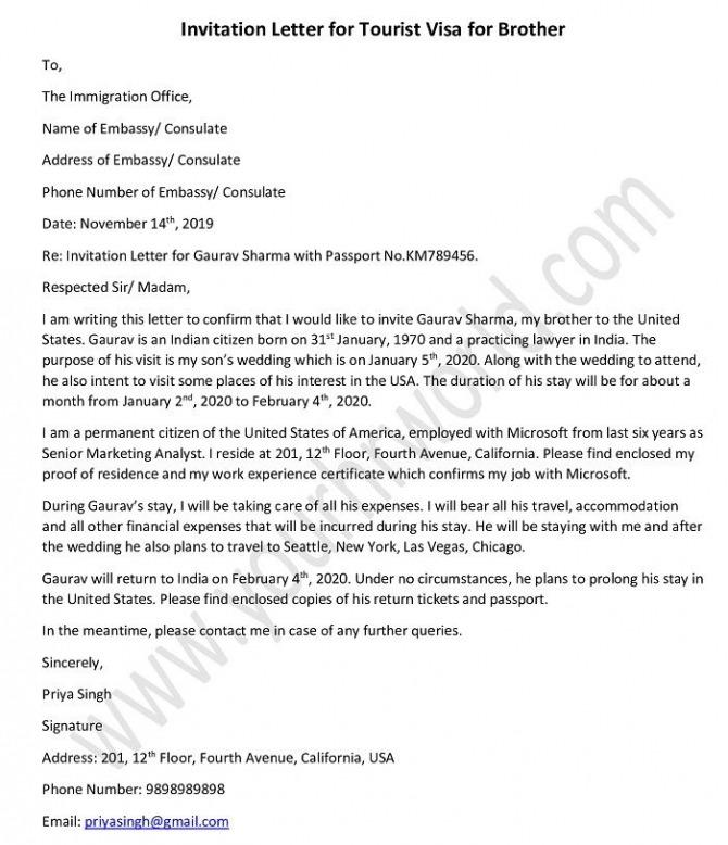 Sample Invitation Letter For Tourist Visa For Brother