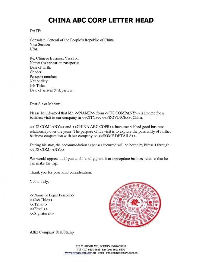 Sample Invitation Letter For Visitor Visa China New New Invitation