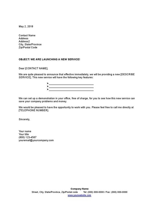Sample Letter Announcing New Service Template