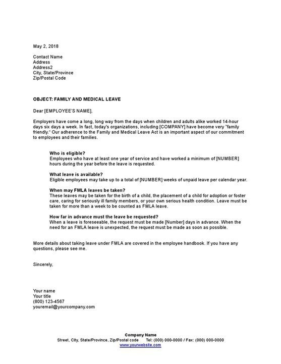 Sample Letter Explaining Family And Medical Leave Template