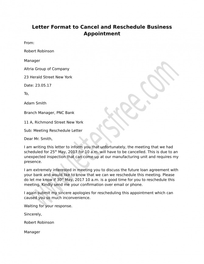 Sample Letter Format To Cancel And Reschedule Business Appointment