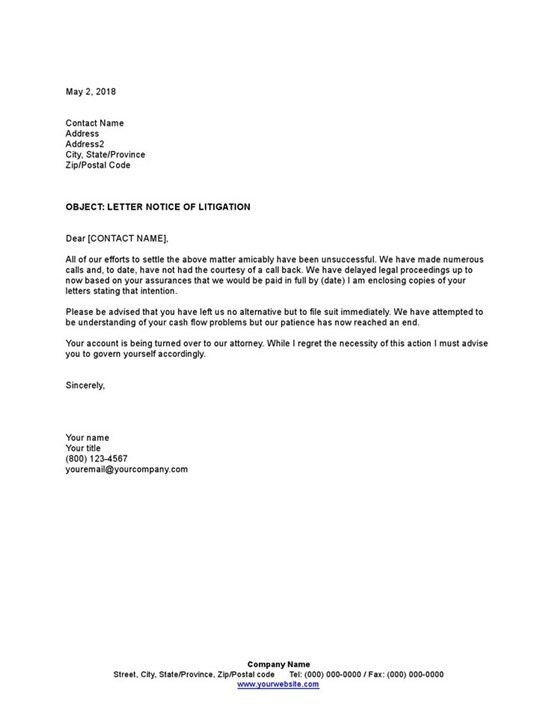 Sample Letter Notice Of Litigation Template