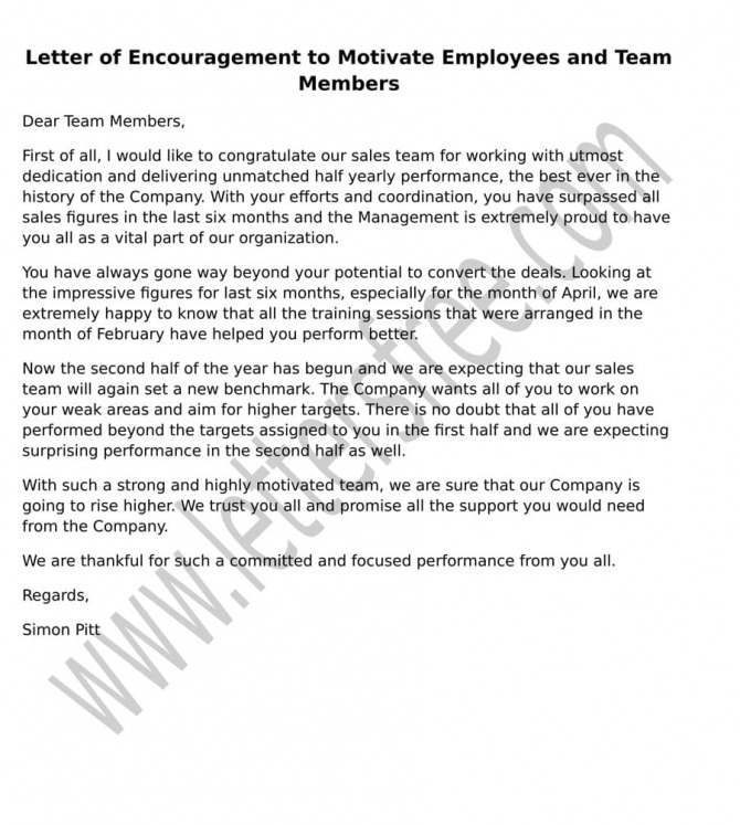 Sample Letter Of Encouragement To Motivate Employees And Team Members