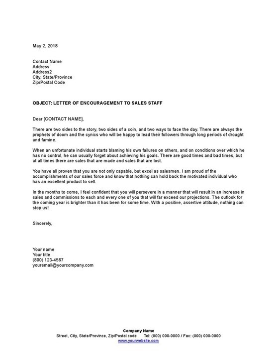 Sample Letter Of Encouragement To Sales Staff Template