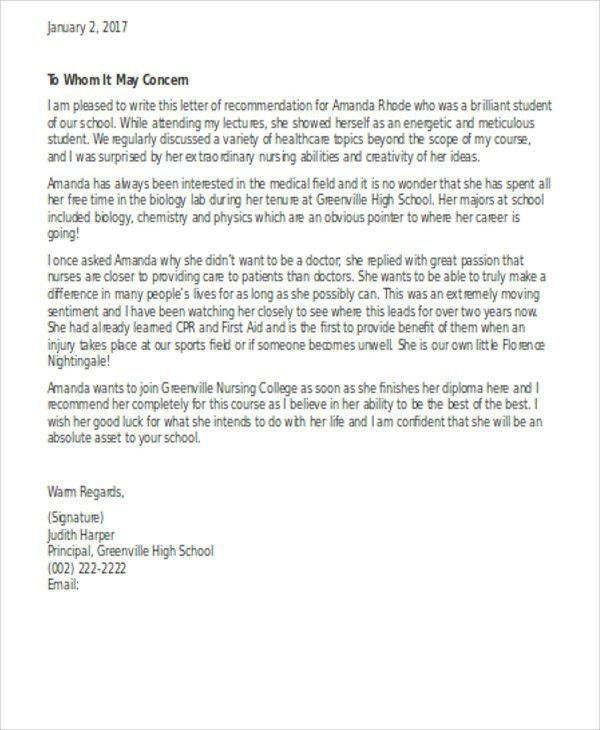 Sample Letter Of Recommendation For Nurse Practitioner School In