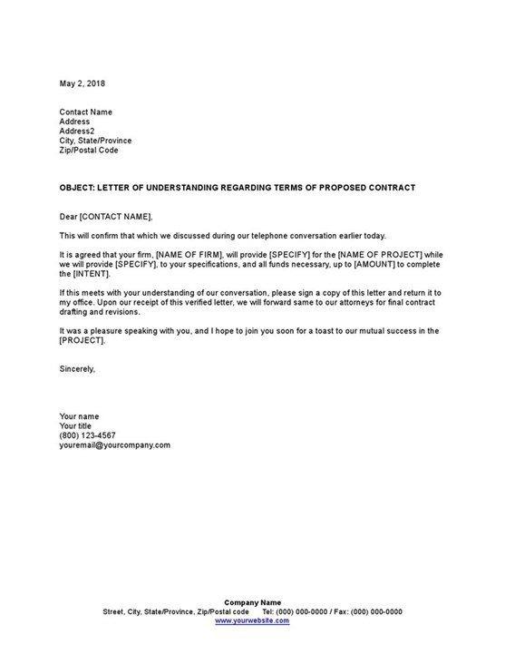 Sample Letter Of Understanding Regarding Terms Of Proposed