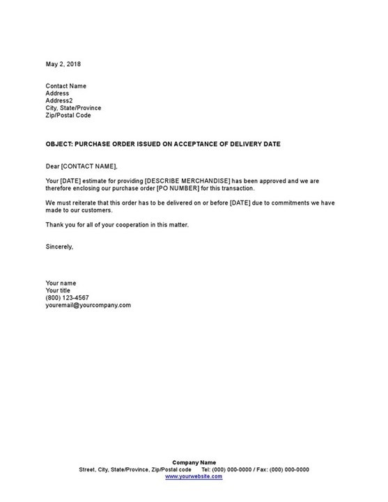 Sample Letter Purchase Order Issued On Acceptance Of Delivery Date