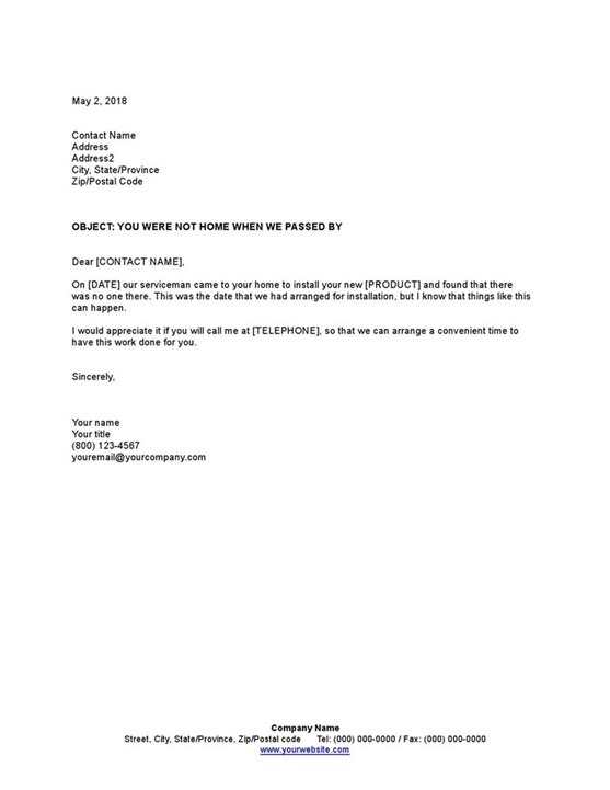 Sample Letter To Customer Not Home For Service Appointment