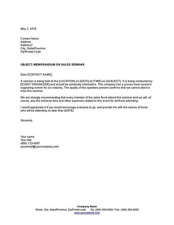 Sample Memorandum On Sales Seminar Template