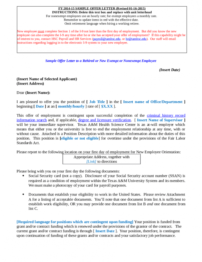 Sample Offer Letter To A Rehired Or New Exempt Or Nonexempt