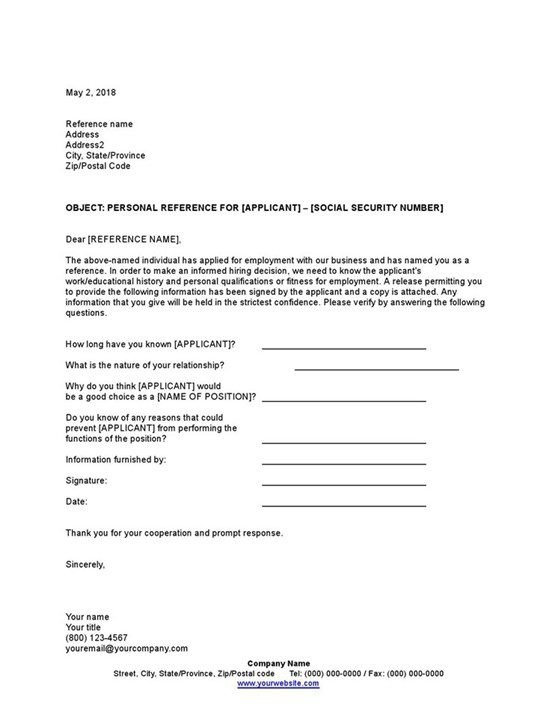 Sample Personal Reference Check Letter Template