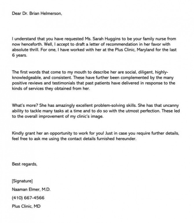 Sample Physician Assistant Letter Of Recommendation  Email Example