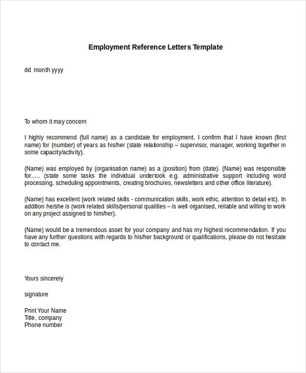 Sample Recommendation Letter For Job From Employer With Throughout