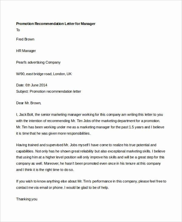 Sample Recommendation Letter For Promotion In