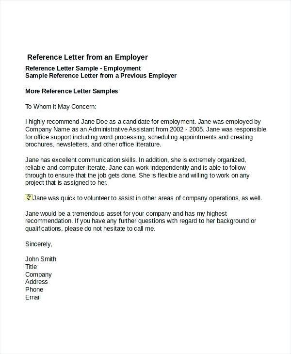Sample Recommendation Letter From Boss