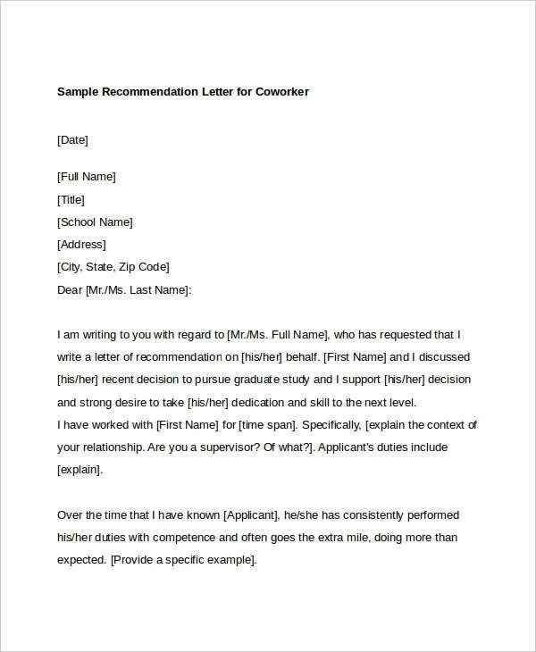 Sample Reference Letter For A Colleague Coworker Recommendation