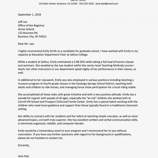 Sample Reference Letter For Graduate School