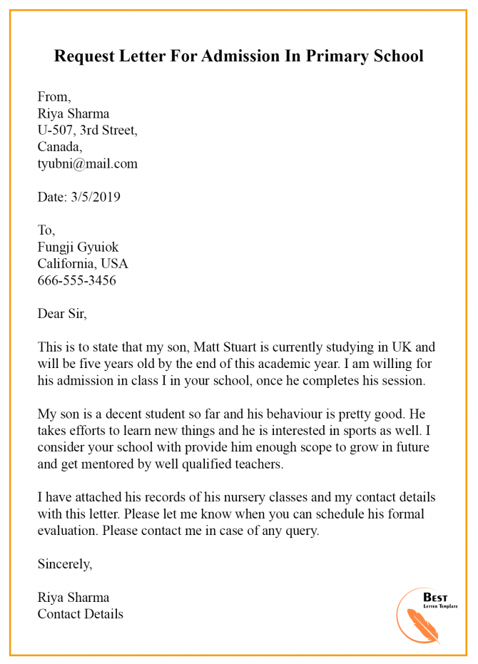 Sample Request Letter Template For Admission In Schoolcollege In