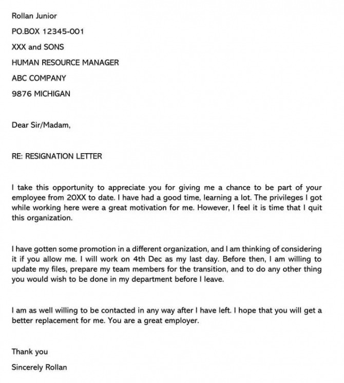 Sample Resignation Letter For Job Promotion Sample Letters