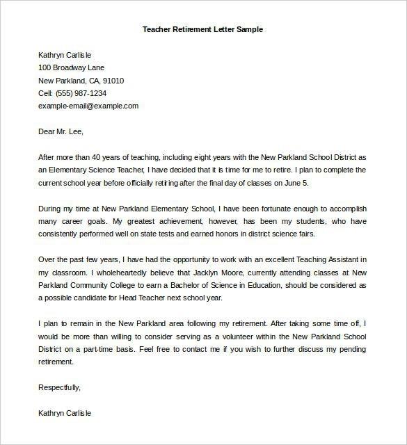 Sample Retirement Letter