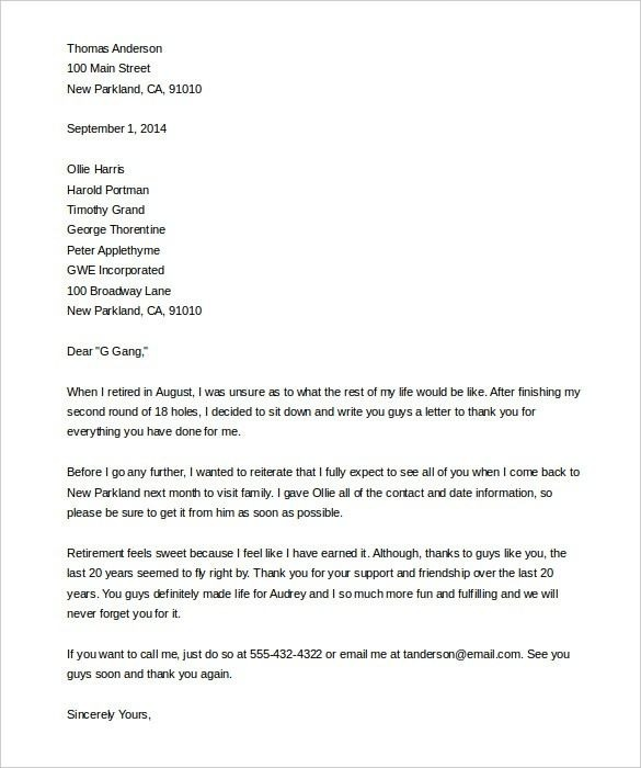Retirement Letter Format