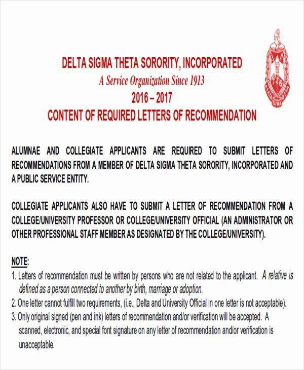 Sample Sorority Recommendation Letter In
