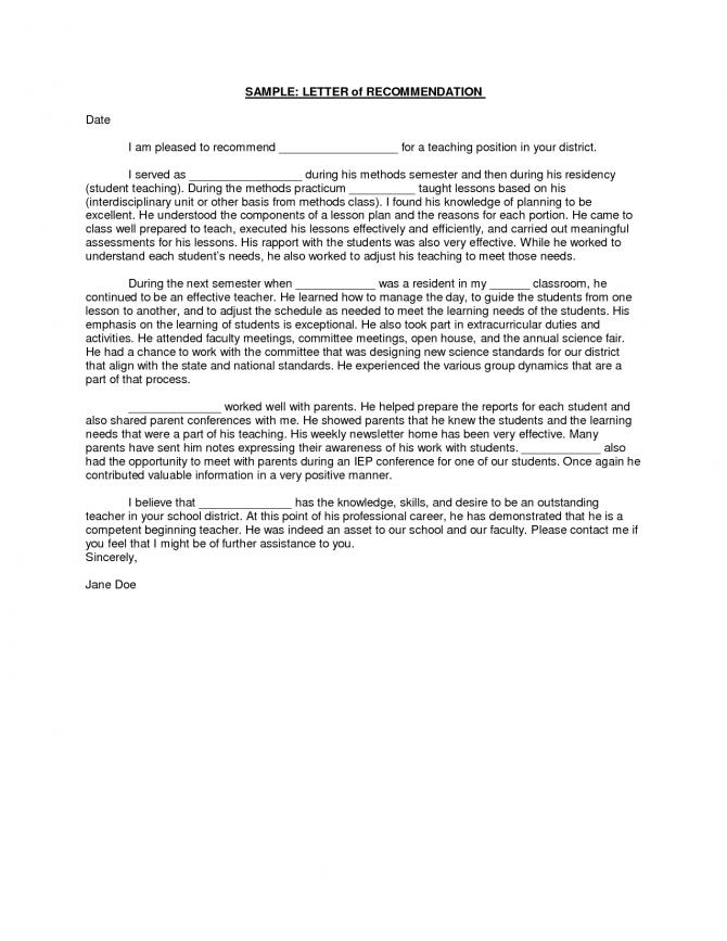 Sample Student Teacher Recommendation Letters Vnqmvof
