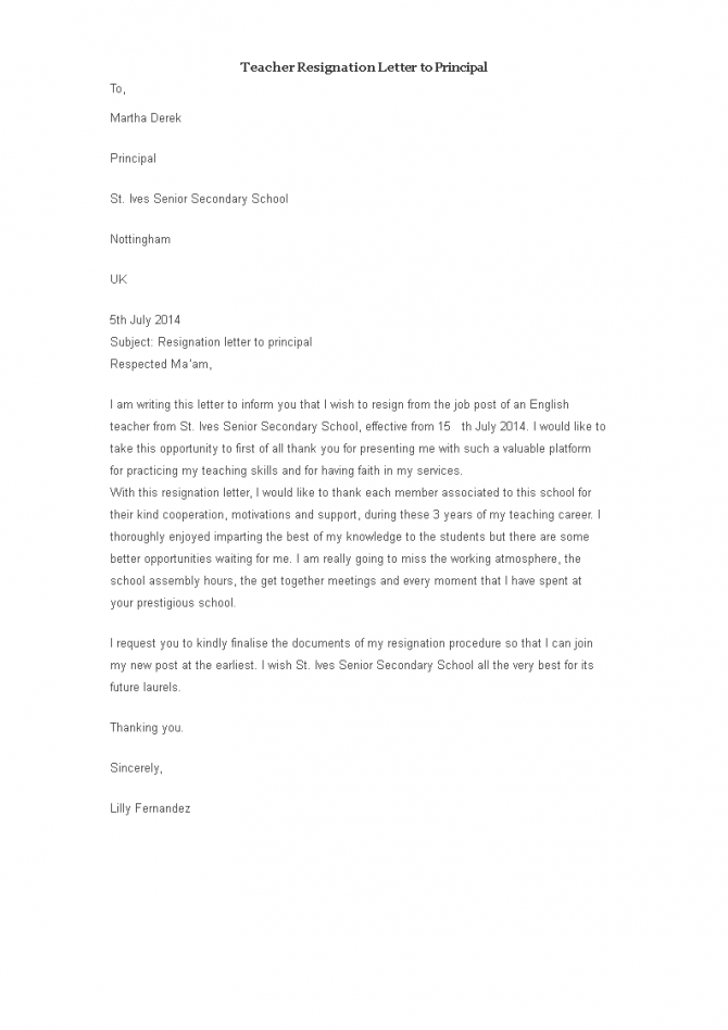 Sample Teacher Resignation Letter To Principal