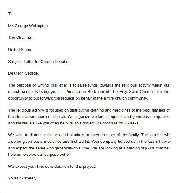 Sample Thank You Letter For Donation To Church