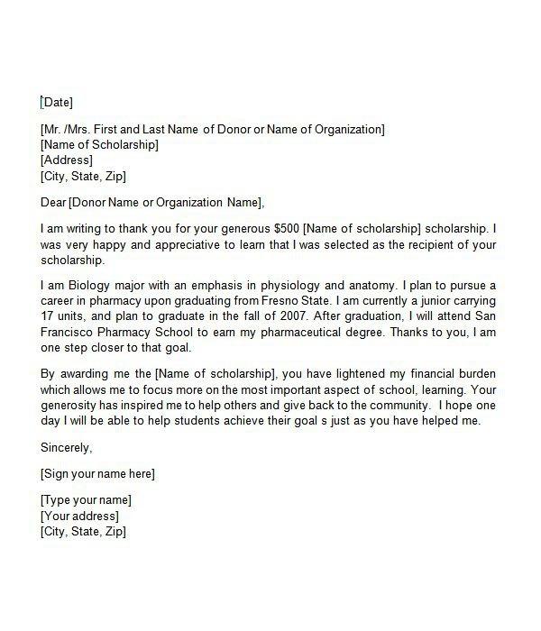 Sample Thank You Letter For Nursing Scholarship