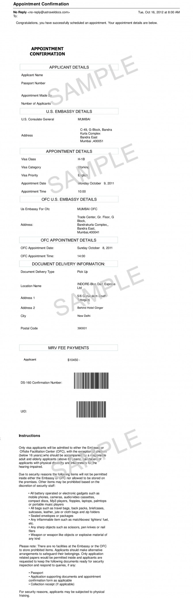 Sample Us Visa Interview Appointment Letter