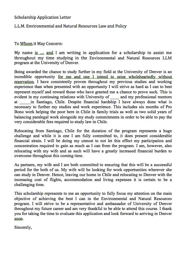 Scholarship Application Letter Sample
