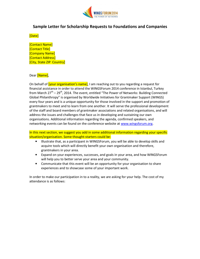 Scholarship Application Request Letter