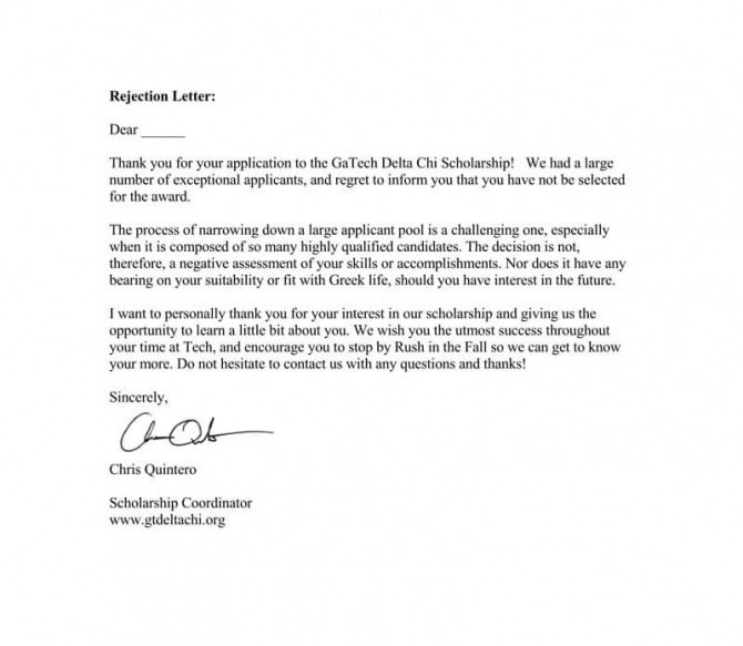 Scholarship Rejection Letter Template  Sample Letters   Examples