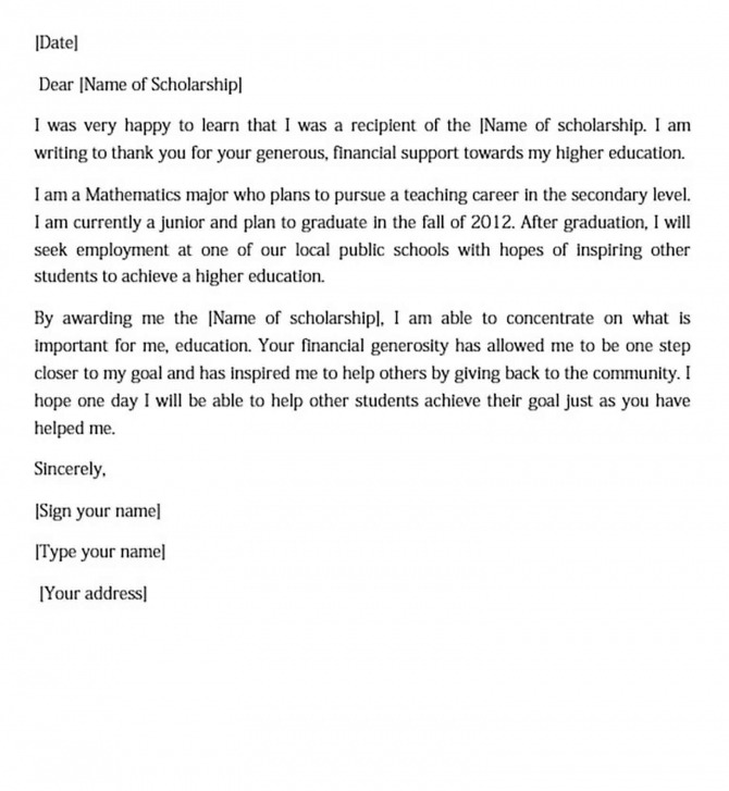 Scholarship Thank You Letter Sample For Doc  Pdf  Words