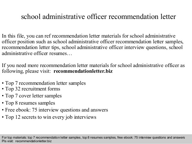 School Administrative Officer Recommendation Letter