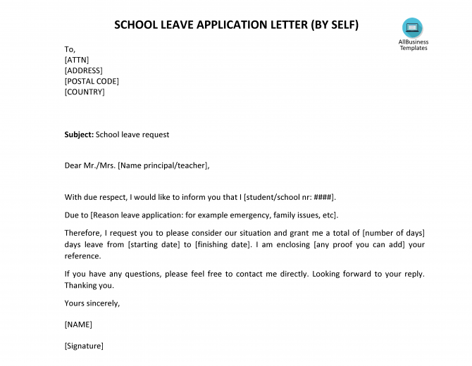 School Leave Letter By Self