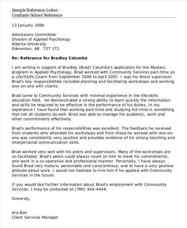 School Reference Letter Template