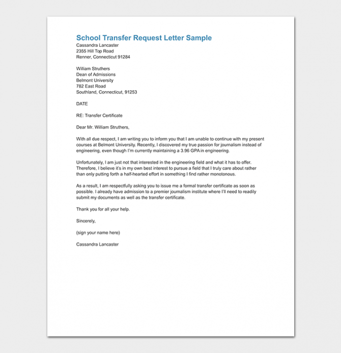 School Transfer Letter How To Write Format   Sample Letters
