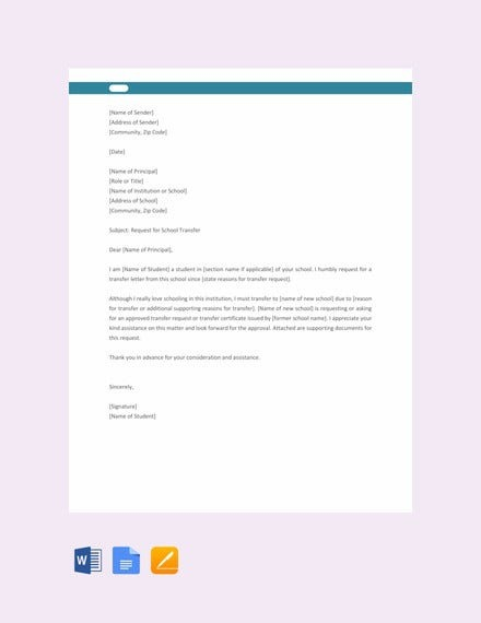 School Transfer Letter Templates