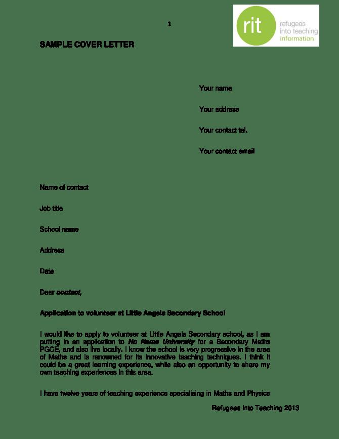School Volunteer Job Application Letter