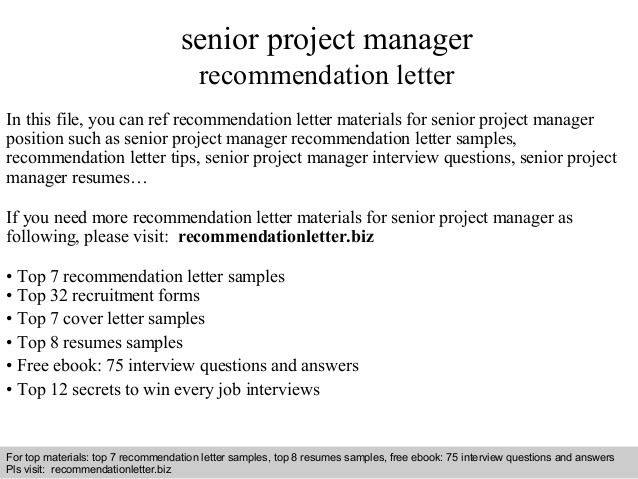 Senior Project Manager Recommendation Letter