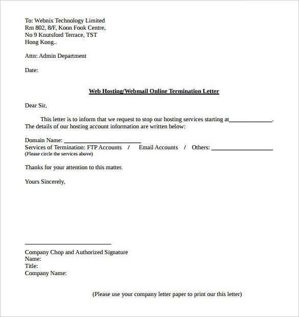 Internet Service Termination Letter